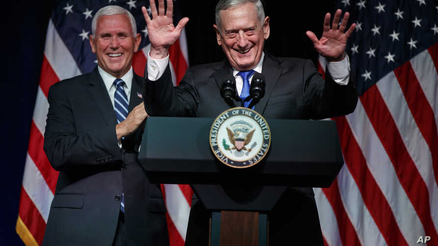Secretary of Defense Jim Mattis introduces Vice President Mike Pence during an event on the creation of a United States Space Force, Thursday, Aug. 9, 2018, at the Pentagon.