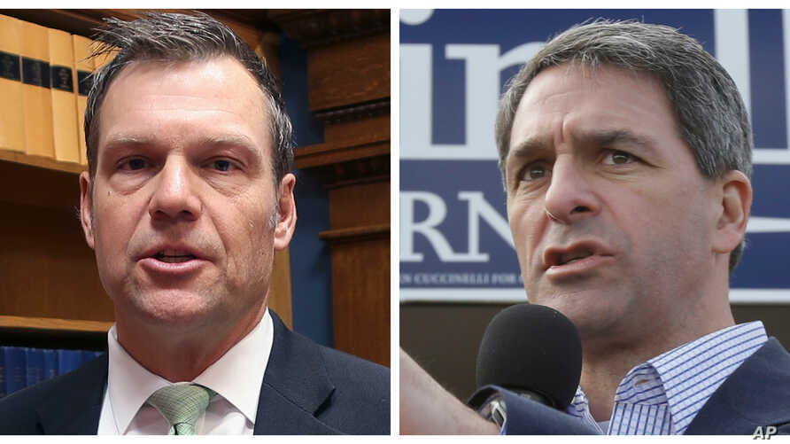 From left, former Kansas Secretary of State Kris Kobach and former Virginia Attorney General Ken Cuccinelli.