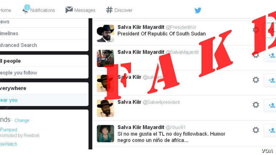 South Sudanese President Salva Kiir says appears to be very active on social media, but his spokesman says none of these Twitter accounts is the head of state's.