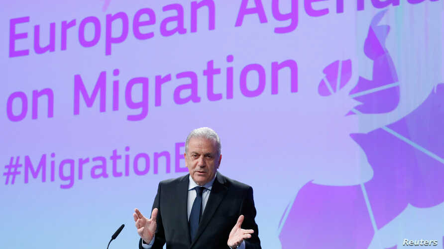 European Commissioner for Migration and Home Affairs Dimitris Avramopoulos addresses a news conference at the EU Commission headquarters in Brussels, Belgium, March 2,  2017.