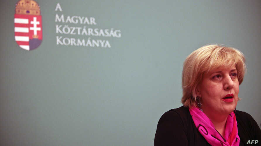 FILE - Organization for Security and Co-operation Representative on Freedom of the Media Dunja Mijatovic during a press conference in Budapest, Hungary, Jan. 18, 2011.