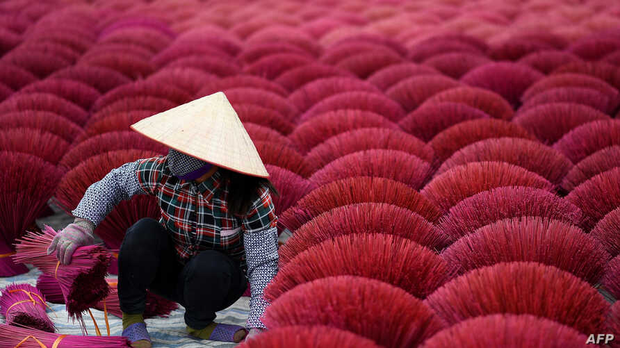 A Vietnamese woman collects dried incense sticks in a courtyard in the village of Quang Phu Cau on the outskirts of Hanoi, Jan. 3, 2019.