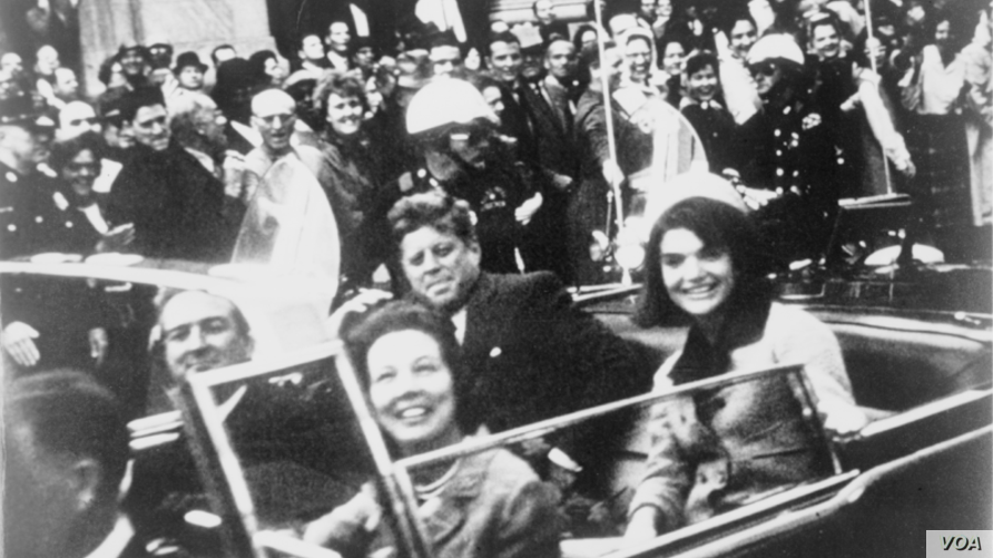 President Kennedy, Jackie Kennedy, and the Connallys in the presidential limousine seconds before the assassination.