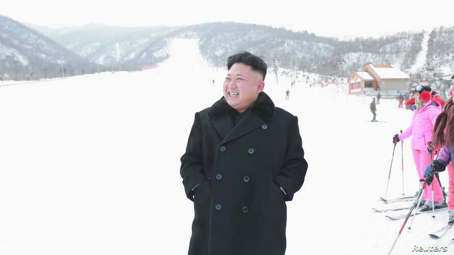 North Korean leader Kim Jong Un visits the newly built ski resort in the Masik Pass region, in this undated photo released by North Korea's Korean Central News Agency (KCNA) in Pyongyang, North Korea, Dec. 31, 2013.