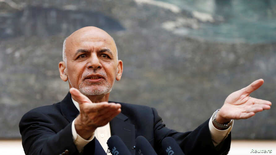 Afghan President Ashraf Ghani speaks during a news conference in Kabul, Afghanistan, July 15, 2018. A spokesman said Ghani is considering announcing an August cease-fire with the Taliban.