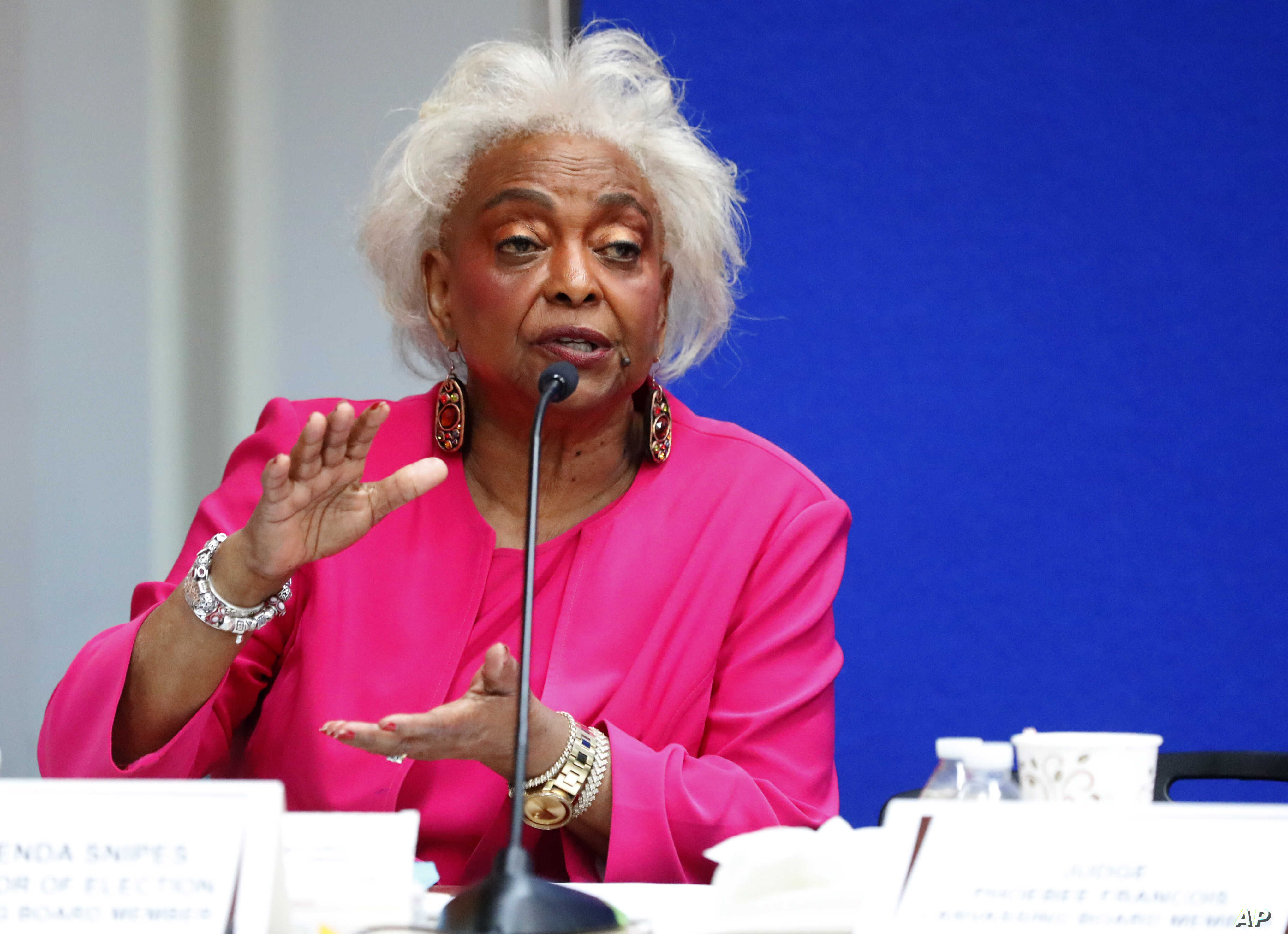 Broward County Supervisor of Elections Brenda Snipes answers questions at the Supervisor of Elections office, Nov. 12, 2018, in Lauderhill, Florida.