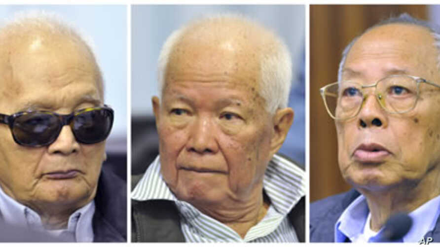 Former Khmer Rouge second-in-command Nuon Chea, former President Khieu Samphan and former Foreign Minister Ieng Sary (L-R) attend their trial at the Extraordinary Chambers in the Courts of Cambodia (ECCC) on the outskirts of Phnom Penh, November 21, ...