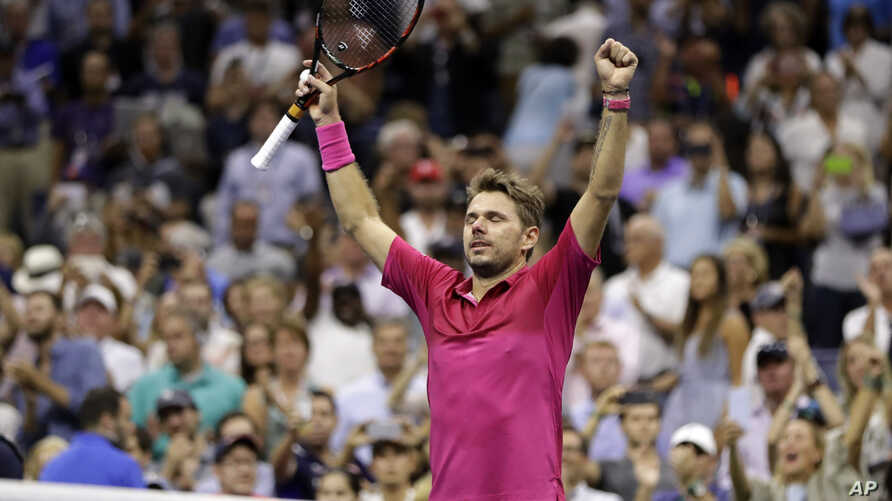 Stan Wawrinka, of Switzerland, reacts after beating Novak Djokovic, of Serbia, to win the men's singles final of the U.S. Open tennis tournament, Sunday, Sept. 11, 2016.