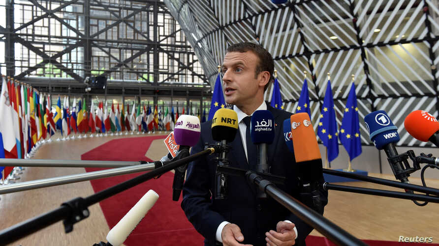 French President Emmanuel Macron arrives at the EU summit in Brussels, Belgium, June 22, 2017.