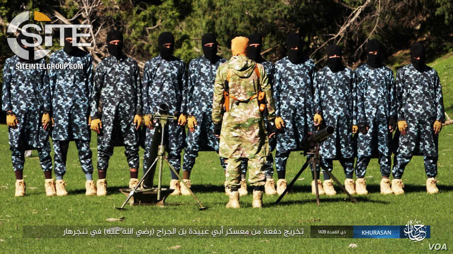 """The """"Abu Ubaydah bin al-Jarrah"""" training camp in Nangarhar in eastern Afghanistan is seen in this photo published by the Islamic State's (IS) Khorasan Province, Aug. 6, 2018. (Photos courtesy of SITE Intelligence Group)"""