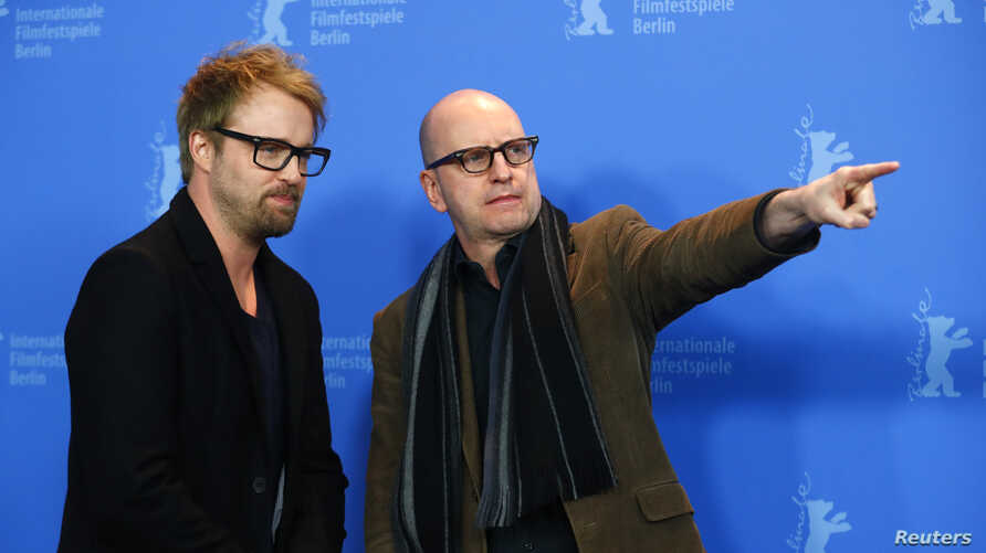 Director Steven Soderbergh and actor Joshua Leonard pose during a photocall to promote the movie Unsane at the 68th Berlinale International Film Festival in Berlin, Germany, Feb. 21, 2018.