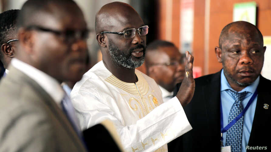 Liberia's President George Weah arrives at the 30th Ordinary Session of the Assembly of the Heads of State and the Government of the African Union in Addis Ababa, Ethiopia, Jan. 28, 2018.