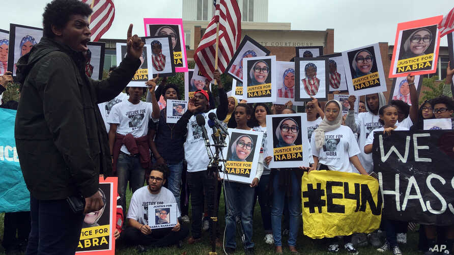 FILE - About 200 friends and supporters of Nabra Hassanen rallied at the Fairfax County Courthouse in Virginia, Oct. 13, 2017.