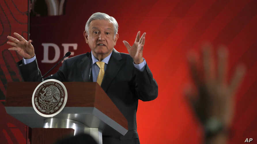 Mexican President Andres Manuel Lopez Obrador answers questions from journalists at his daily 7 a.m. press conference at the National Palace in Mexico City, March 8, 2019.