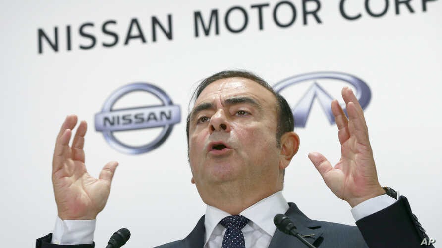 FILE - Nissan Motor Co. CEO Carlos Ghosn speaks during a press conference in Tokyo, Thursday, Oct. 20, 2016. (AP Photo/Shizuo Kambayashi)
