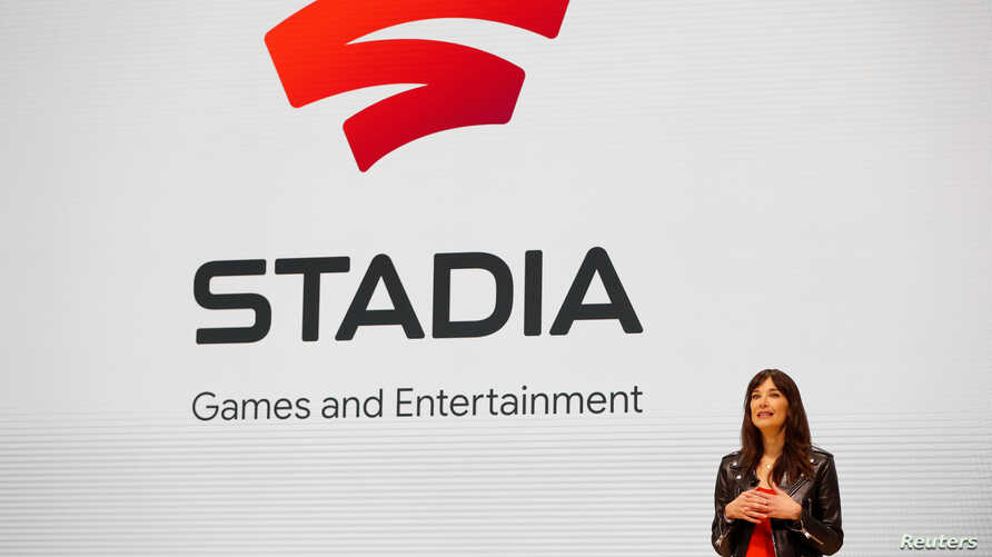 Jade Raymond, head of Google's Stadia Games and Entertainment, speaks on stage during a keynote address at the Game Developers Conference in San Francisco, California, March 19, 2019.