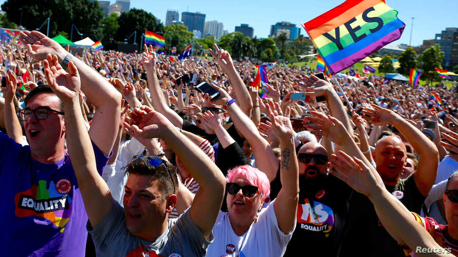 Supporters of the 'Yes' vote for marriage equality celebrate after it was announced the majority of Australians support same-sex marriage in a national survey, paving the way for legislation to make the country the 26th nation to formalize the unions...