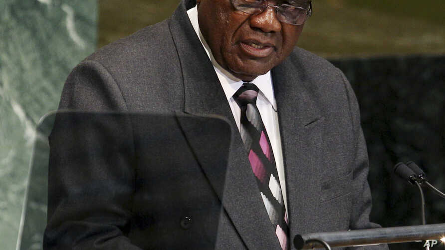 Hifikepunye Pohamba, President of Namibia, speaks during the 67th session of the General Assembly at United Nations headquarters, Sept. 25, 2012.