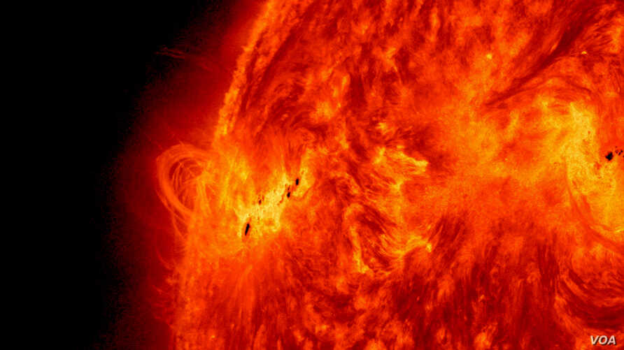 NASA's Solar Dynamics Observatory captured this image of the X1.2 class solar flare on May 14, 2013. Solar activity continued as the sun emitted a fourth X-class flare from its upper left limb. (Credit: NASA/SDO)
