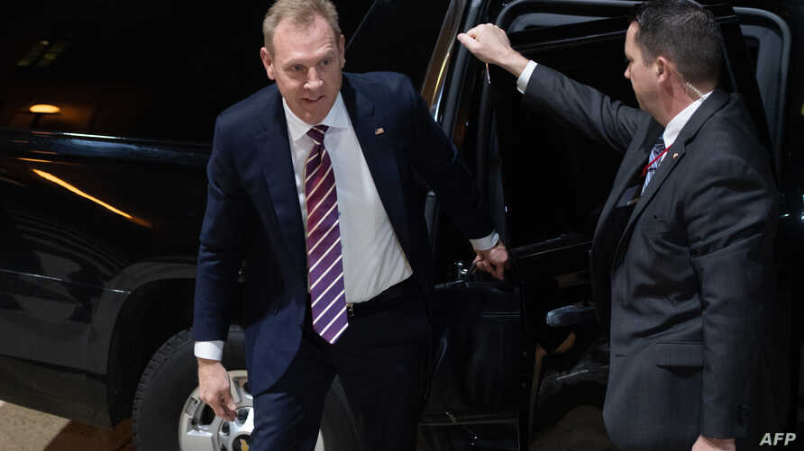 Acting U.S. Secretary of Defense Patrick Shanahan arrives for his first day in his new job at the Pentagon in Arlingon, Virginia, outside Washington, Jan. 2, 2019.