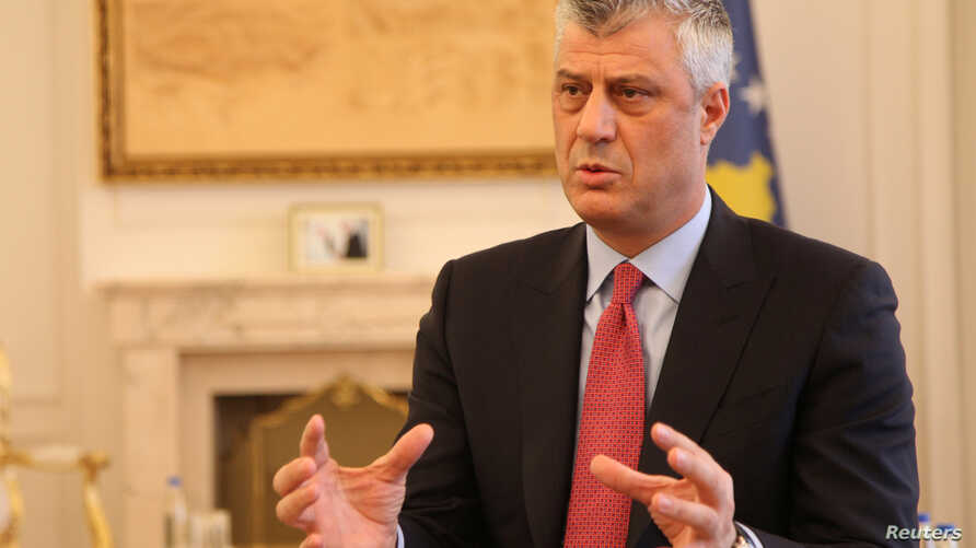 FILE - Kosovo's President Hashim Thaci gives an interview for Reuters in his office in Kosovo's capital Pristina, Jan. 16, 2017.
