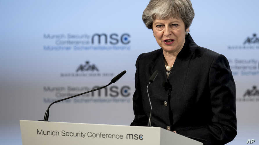 Britain's Prime Minister Theresa May speaks at the Security Conference in Munich, Germany, Feb. 17, 2018.