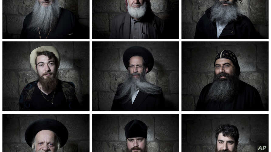 In this combination of photos taken Feb. 11, 2018, men pose for portraits in Jerusalem's Old City.
