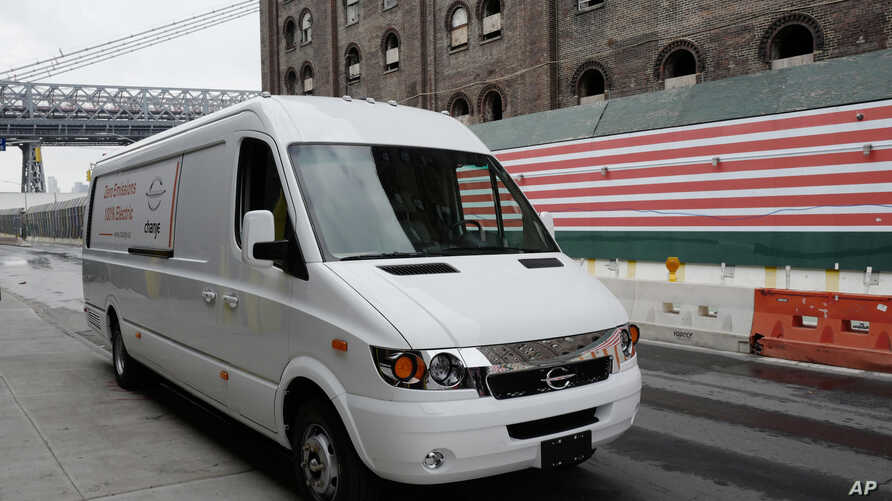 This Nov. 2, 2017, photo shows a Chanje V8070 electric medium-duty truck on display in New York.