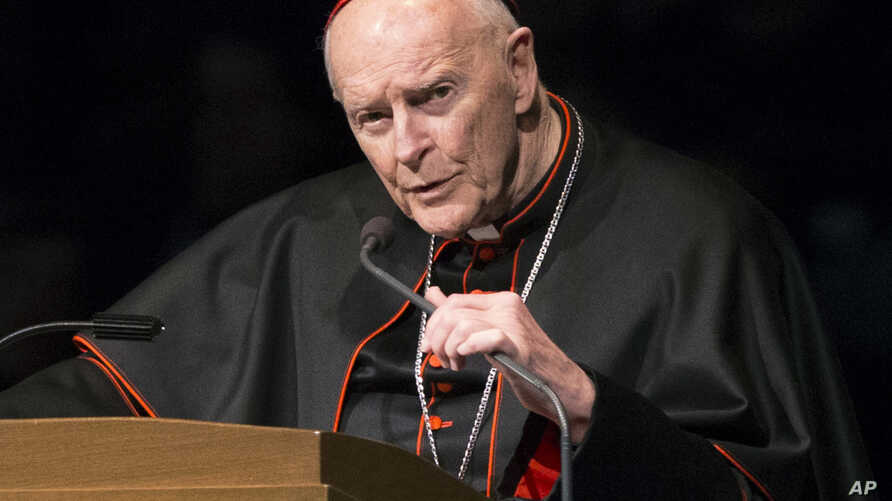 FILE - Cardinal Theodore McCarrick speaks during a memorial service in South Bend, Indiana, March 4, 2015.