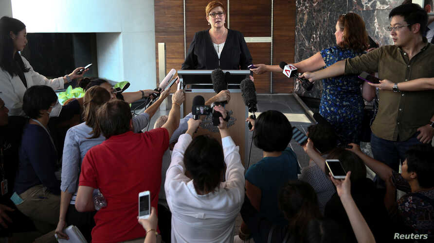 Australia's Foreign Minister Marise Payne speaks during a news conference at Australian Embassy in Bangkok, Thailand, Jan. 10, 2019.