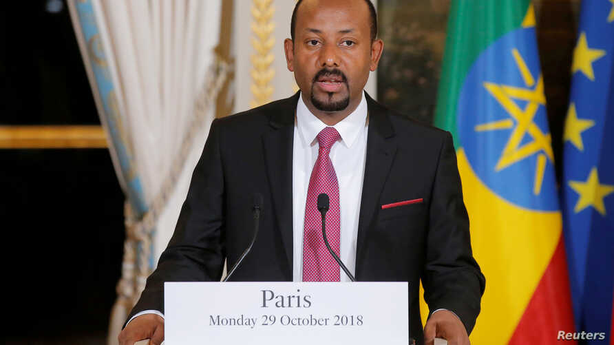 FILE - Ethiopian Prime Minister Abiy Ahmed speaks during a media conference at the Elysee Palace in Paris, France, Oct. 29, 2018.
