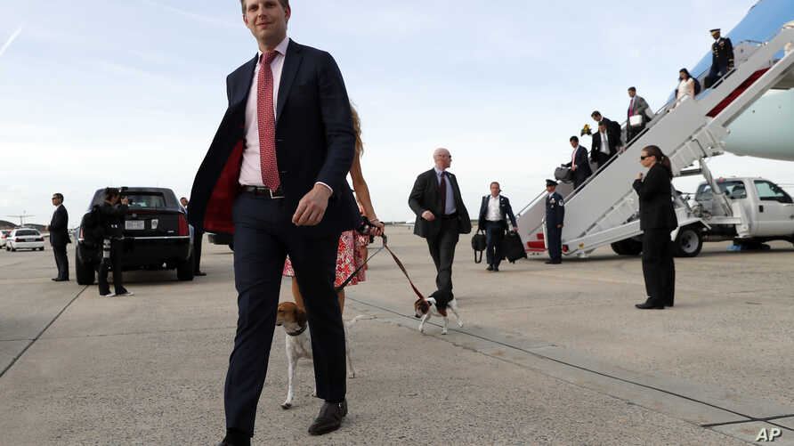 Eric Trump steps off Air Force One as he arrives, April 16, 2017, at Andrews Air Force Base near Washington, D.C., as President Donald Trump and his family return from his Florida Mar-a-Largo resort.