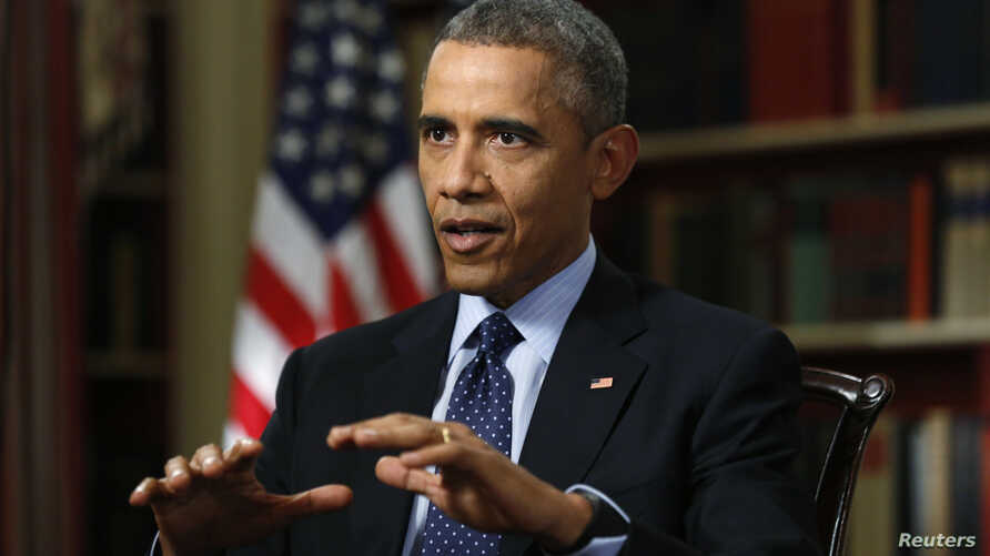 U.S. President Barack Obama speaks during an exclusive interview with Reuters in the Library of the White House in Washington, March 2, 2015.
