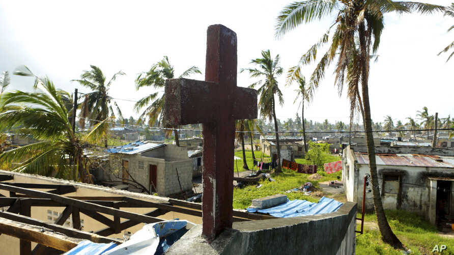 A church building damaged by Cyclone Idai in a neighbourhood in Beira, Mozambique, March, 27, 2019.