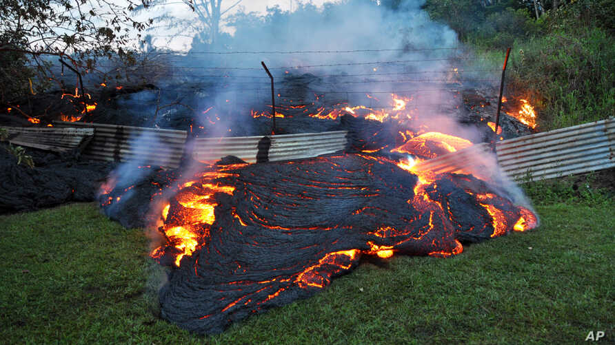 This Tuesday, Oct. 28, 2014 photo provided by the U.S. Geological Survey shows lava that has pushed through a fence marking a property boundary above the town of Pahoa on the Big Island of Hawaii.