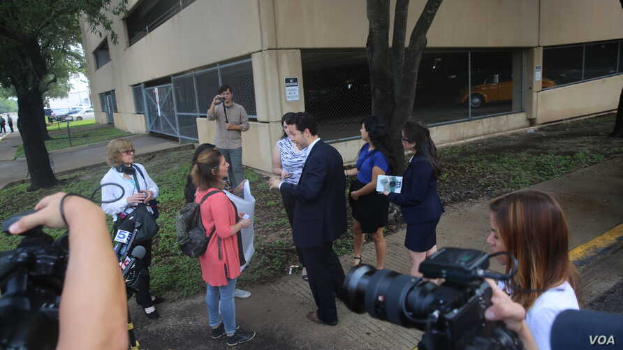 Lawyers for the Texas Civil Rights Project talk with reporters outside the McAllen, Texas, courthouse where no parents were being criminally prosecuted, June 22, 2018.