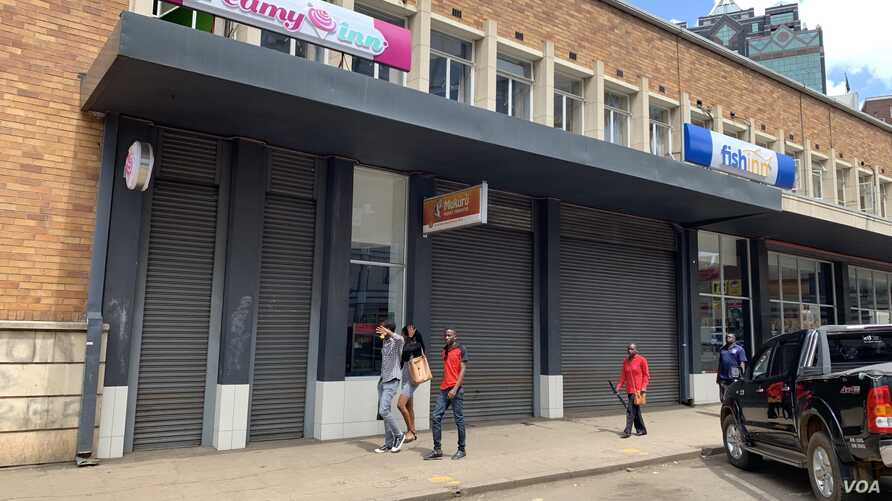 Most businesses in Harare were closed Jan. 14, 2019, as protests in Zimbabwe began.