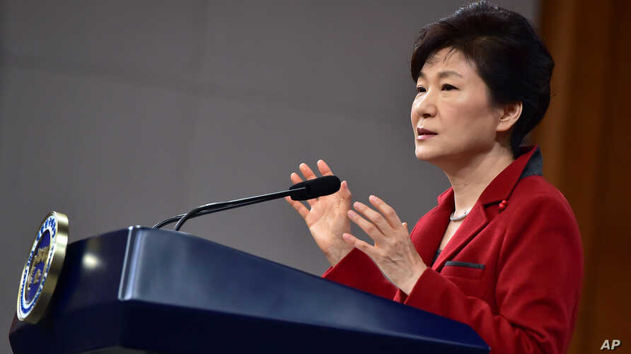 South Korean President Park Geun-hye speaks during her New Year's press conference at the presidential Blue House in Seoul Monday, Jan. 12, 2015.