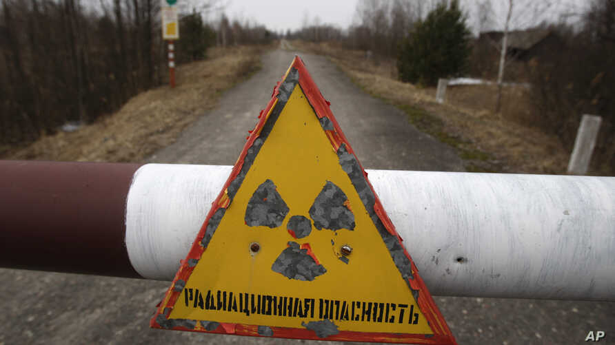 In this Tuesday, March 22, 2011 a sign reads 'Radiation danger' in the state radiation ecology reserve in the village of Babchin, near the 30 km exclusion zone around the Chernobyl nuclear reactor, some 370 km ( 231 miles) south-east of Minsk, Belaru