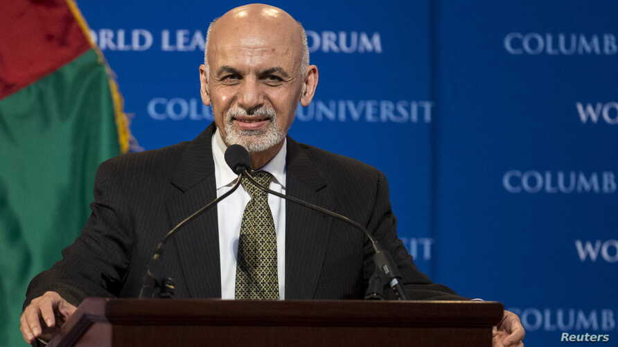 "FILE - Afghan President Ashraf Ghani participates in ""The New Beginning in Afghanistan: A Conversation with H.E. Dr. Mohammad Ashraf Ghani, President of the Islamic Republic of Afghanistan"" at Columbia University in New York March 26, 2015."