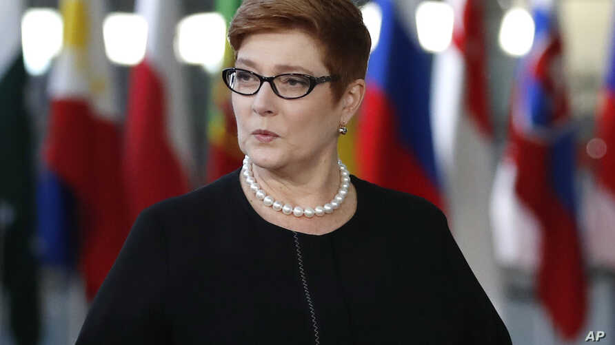 FILE - Australian Foreign Minister Marise Payne arrives for the ASEM 12 in Brussels, Oct. 18, 2018.