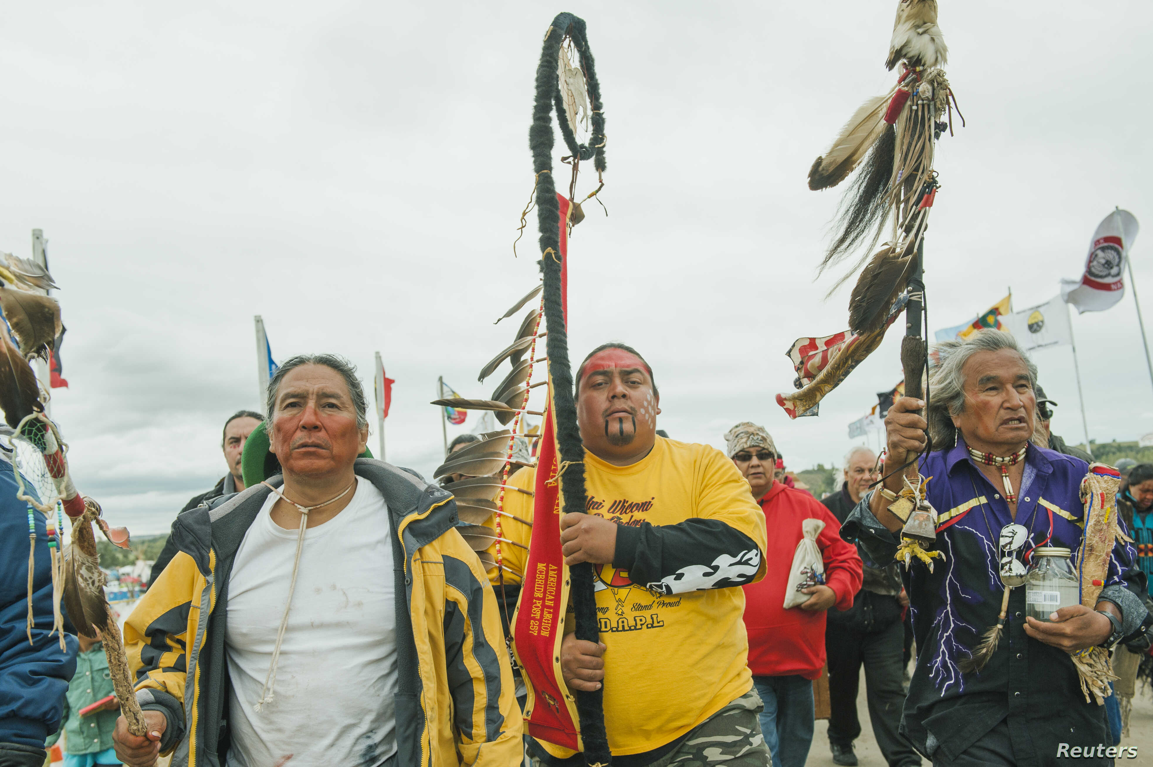 Protesters demonstrate against the Energy Transfer Partners' Dakota Access oil pipeline near the Standing Rock Sioux reservation in Cannon Ball, North Dakota, Sept. 9, 2016.