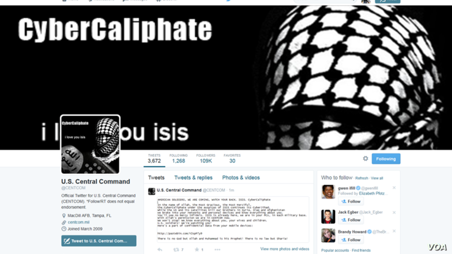 Hackers who say they are loyal to the Islamic State group, take over the U.S. Central Command Twitter account, Jan. 12, 2015. (Screen shot)