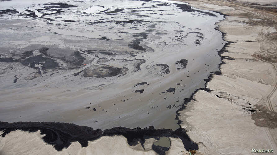 A Shell tailings pond at their tar sands operations near Fort McMurray, Alberta, Sept. 17, 2014.