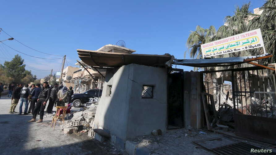 A damaged hospital that was hit by one of the three truck bombs is pictured in the YPG-controlled town of Tel Tamer, Syria, Dec. 11, 2015.
