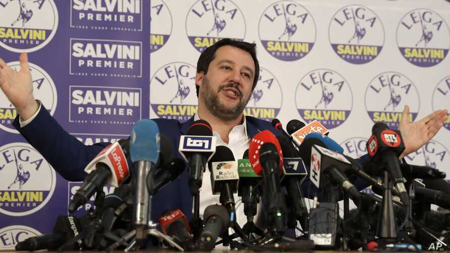 The League's Matteo Salvini gives a press conference on the preliminary election results, in Milan, March 5, 2018.