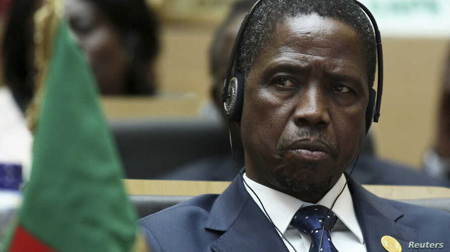 FILE - Zambian President Edgar Lungu attends the opening ceremony of the 24th Ordinary session of the Assembly of Heads of State and Government of the African Union (AU) at the organization's headquarters in Ethiopia's capital Addis Ababa, January 30...