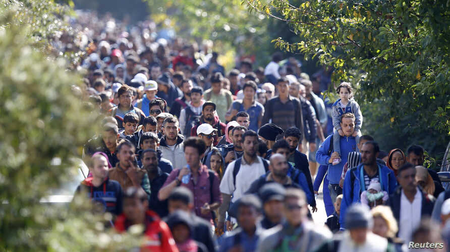 Migrants walk towards the Austrian border from Hegyeshalom, Hungary, Sept. 23, 2015.