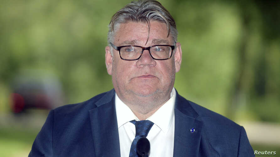 FILE - Finland's Foreign Minister Timo Soini attends a news conference in Vantaa, Finland, Aug. 14, 2018.