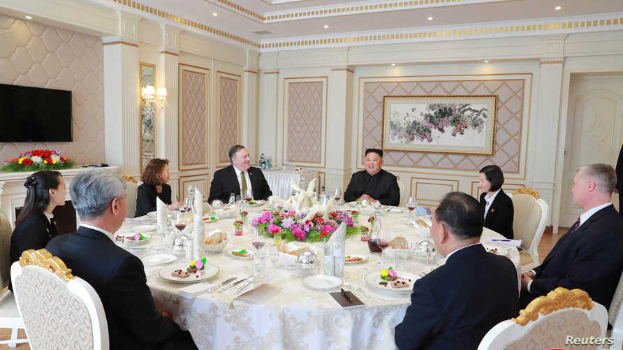 FILE - North Korean leader Kim Jong Un meets with US Secretary of State Mike Pompeo in Pyongyang in this photo released by North Korea's Korean Central News Agency.